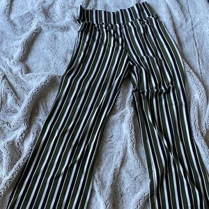 One Eleven green striped palazzo pants